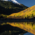 Fall Colors And Red Mountain Reflected by Adam Jones
