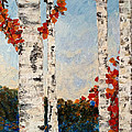 Fall Lake Birches by Judith Cahill