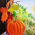 Fall Leaves Pumpkin Gourd by Irina Sztukowski