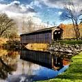 Fallasburg Bridge In Fall by Michelle Calkins