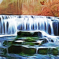 Falls Panorama-features In Groups Rivers Streams And Waterfalls-visions Of The Night by Ericamaxine Price