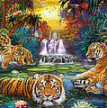 Family At The Jungle Pool by Jan Patrik Krasny