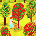 Family Picking Apples In Orchard by Christopher Corr