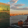 United Nations Secretariat With Chrysler Building Reflection by Miriam Danar