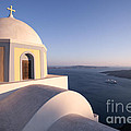 Famous Orthodox Church In Santorini Greece At Sunset by Matteo Colombo