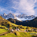 Famous View St Magdalena With Odle Mountains In The Dolomites Italy by Matteo Colombo