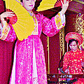 Fan Dancer And Monochord Player In Court Music Show At Citadel Of Nguyen Dynasty In Hue-vietnam by Ruth Hager