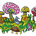 Fanciful Mushroom Nature Doodle by Frank Ramspott