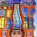 Fanciful Wavy House Painting by Lenora  De Lude