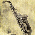 Fancy Antique Saxophone In Pastel by Angela Stanton
