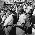 Fans At Yankee Stadium Stand For The National Anthem At The Star by Underwood Archives