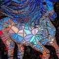 Fantasy Horse Mosaic Blue by Saundra Myles