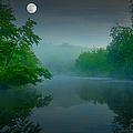 Fantasy Moon over Misty Lake