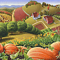 Farm Landscape - Autumn Rural Country Pumpkins Folk Art - Appalachian Americana - Fall Pumpkin Patch by Walt Curlee