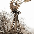 Farm Windmill In Sepia by Carol Groenen