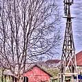 Farm - Windmill - Red Barn Farm - Missouri by L Wright