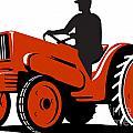 Farmer Driving Vintage Tractor Retro by Aloysius Patrimonio
