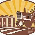 Farmer Driving Vintage Tractor Retro Woodcut by Aloysius Patrimonio