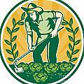 Farmer Gardener With Garden Hoe Cabbage by Aloysius Patrimonio