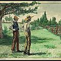Farmers In Pasture With Trees 1885 Hand Tinted Etching  by Pierpont Bay Archives
