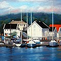 Farsund Dock Scene Painting by Janet King