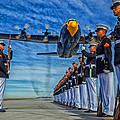 Fat Albert Over The Usmc Silent Drill Team by Mountain Dreams