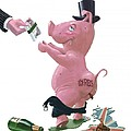 Fat British Bank Pig Getting Government Handout by Martin Davey