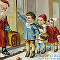 Father Christmas Disembarking Train by Mary Evans