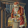 Father Christmas Filling Children's Stockings by English School