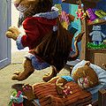 Father Christmas Lion Delivering Presents by Martin Davey