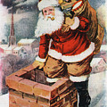 Father Christmas Popping Down The Chimney To Deliver Gifts To The Good.  by R Muirhead Art