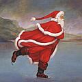 Father Christmas Skating On Duddingston Loch by Carol Lawson