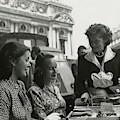 Fay Caulkins And Payne Payson Sitting At Cafe by Donald Honeyman