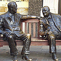Fdr And Churchill Having A Chat In London by John Telfer