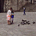 Feeding Pigeons In Santiago De Compostela by Mary Machare
