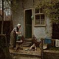 Feeding The Ducks by Bernardus Johannes Blommers or Bloomers