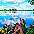 Feet Up Fishing Crab Orchard Lake by Jeff Kurtz
