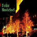 Feliz Navidad - Merry Christmas In New York - Trees And Star Holiday And Christmas Card by Miriam Danar