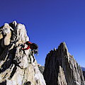 Female Climber Reaching The Top by Corey Rich