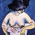 Female Nude With Hat by Ernst Ludwig Kirchner