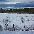 Fence And Snowy Field by MTBobbins Photography