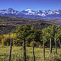 Fence Line And Mountains by David Waldrop