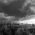 Fenced In - Western Oklahoma Scene In Black And White by Sean Ramsey