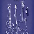 Fender Bass Guitar 1953 Patent Art Blue by Prior Art Design