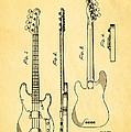 Fender Precision Bass Guitar Patent Art 1953 by Ian Monk