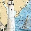 Fenwick Island Lighthouse De Nautical Chart Map Art Cathy Peek by Cathy Peek