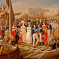 Ferdinand Vii Disembarking In The Port Of Santa Maria, 19th Century Oil On Canvas by Jose Aparicio