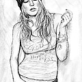 Fergie Art Drawing Sketch Portrait by Kim Wang