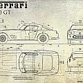 Ferrari 250 Gt Blueprint Antique by Jon Neidert