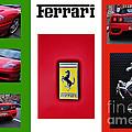 Ferrari Collage On Italian Flag by Kaye Menner